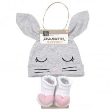 Σετ Σκουφάκι καλτσάκια One Size για νεογέννητα Cat Grey PU2167