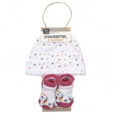 Σετ Σκουφάκι καλτσάκια One Size για νεογέννητα Unicorn Rainbow PU2167