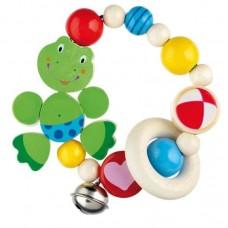 Goki Ξύλινη κουδουνίστρα βραχιόλι βάτραχος