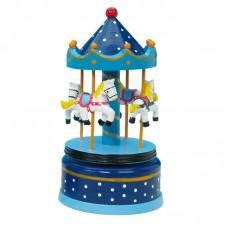 Wooden Carousel Blue 21cm 16003
